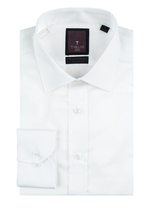 White Slim Fit Shirt, Barrel Cuff, by Tiglio RC TIG3012  Tiglio Luxe - Italian Suit Outlet