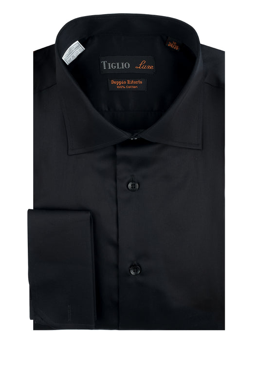Black Dress Shirt, French Cuff, by Tiglio  Tiglio Luxe - Italian Suit Outlet