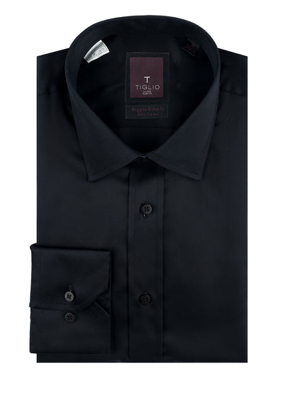 Black Slim Fit Shirt, Barrel Cuff, by Tiglio RC TIG3014  Tiglio Luxe - Italian Suit Outlet
