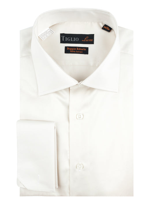 Off White Dress Shirt, French Cuff, by Tiglio  Tiglio Luxe - Italian Suit Outlet