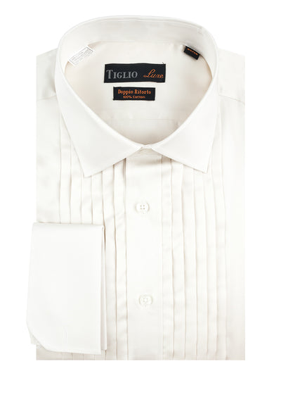 Off White Tuxedo Shirt, French Cuff, by Tiglio  Tiglio Luxe - Italian Suit Outlet