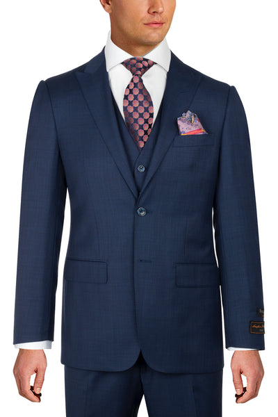 Tiglio Luxe Tufo, Modern Fit, BLUE SHARKSKIN, Pure Wool Suit & Vest TS4066/2  Tiglio - Italian Suit Outlet