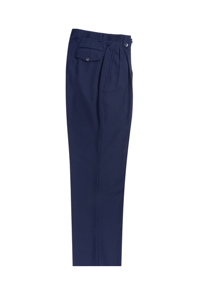 French Blue Wide Leg, Pure Wool Dress Pants by Tiglio Luxe TIG5966  Tiglio - Italian Suit Outlet