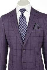 DOLCETTO Purple with navy windowpane, Modern Fit, Pure Wool Suit by TIGLIO LUXE Menswear TL10947/3  Tiglio Luxe - Italian Suit Outlet