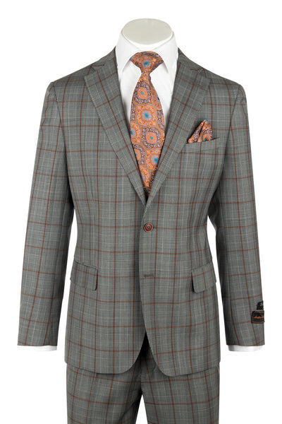 DOLCETTO Gray with burnt orange and houndstooth windowpane, Modern Fit, Pure Wool Suit by TIGLIO LUXE Menswear TL139970/1  Tiglio Luxe - Italian Suit Outlet