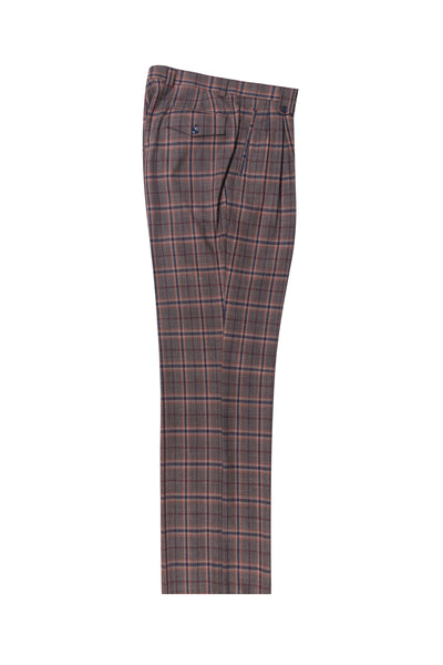 Gray with rust navy windowpane Wide Leg, Pure Wool Dress Pants by Tiglio Luxe TL4000/2  Tiglio - Italian Suit Outlet
