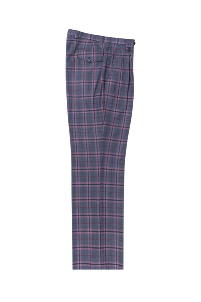 Blue jean with pink and navy windowpane Wide Leg, Pure Wool Dress Pants by Tiglio Luxe TL4000/3  Tiglio - Italian Suit Outlet