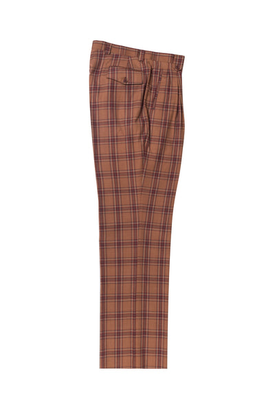 burnt orange color with red and blue windowpane Wide Leg, Pure Wool Dress Pants by Tiglio Luxe TL4118/2  Tiglio - Italian Suit Outlet