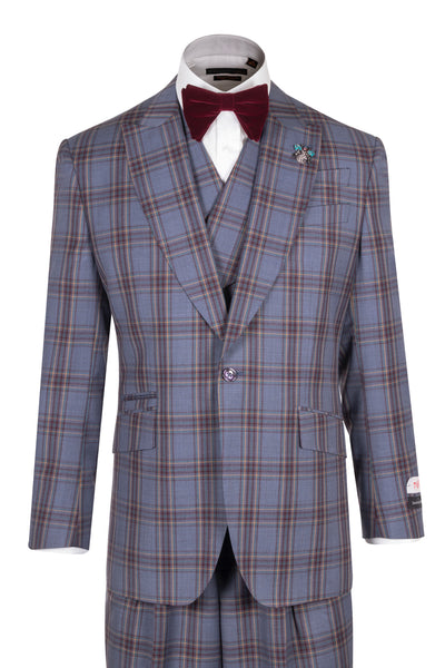 NEW ROSSO Medium Blue with Burgundy and Light Orange Windowpane, Wide Leg Pure Wool Suit & Vest by Tiglio Rosso TL4120/2  Tiglio - Italian Suit Outlet
