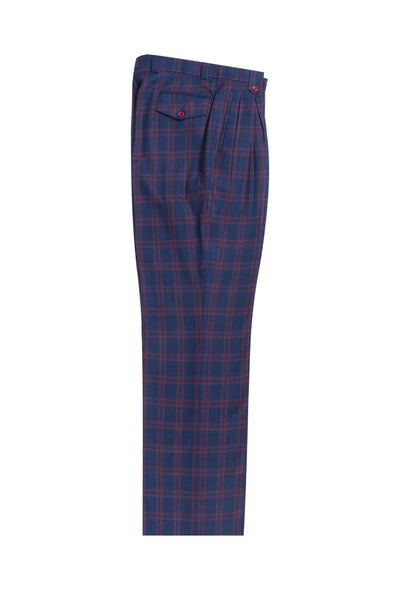 Dark blue jean with red & orange windowpane Wide Leg, Pure Wool Dress Pants by Tiglio Luxe TL4190/1  Tiglio - Italian Suit Outlet