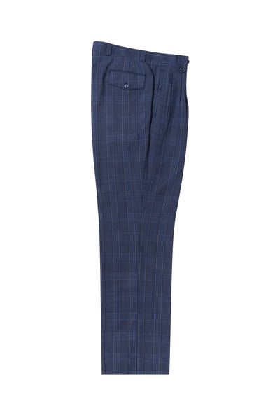 Sharkskin with black windowpane Wide Leg, Pure Wool Dress Pants by Tiglio Luxe TL4219/1  Tiglio - Italian Suit Outlet