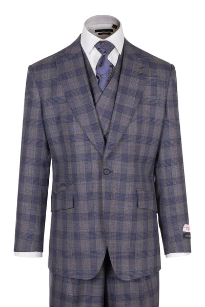 NEW ROSSO Gray with Purple and Lavender Windowpane, Wide Leg Pure Wool Suit & Vest by Tiglio Rosso TL4220/1  Tiglio - Italian Suit Outlet