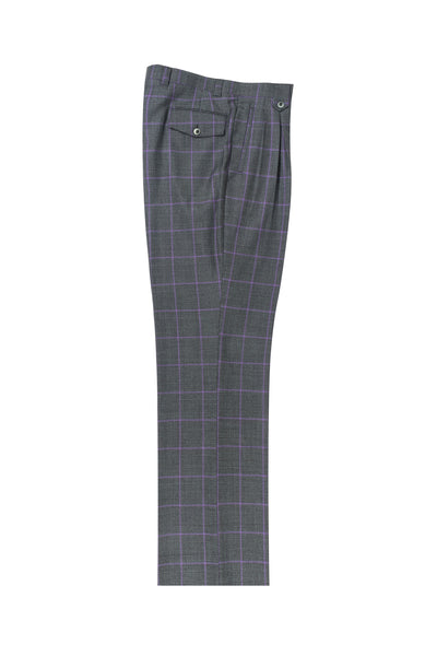 Green prince de galles with lavender windowpane Wide Leg, Pure Wool Dress Pants by Tiglio Luxe TL4224/5  Tiglio - Italian Suit Outlet