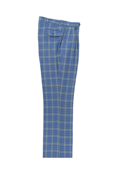 New blue with yellow and blue windowpane Wide Leg, Pure Wool Dress Pants by Tiglio Luxe TL7223M302/2  Tiglio - Italian Suit Outlet