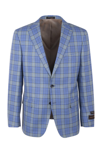 Dolcetto Blue with yellow and navy windowpane Modern Fit, Pure Wool Jacket by Tiglio Luxe TL7223M/302/2  Tiglio Luxe - Italian Suit Outlet