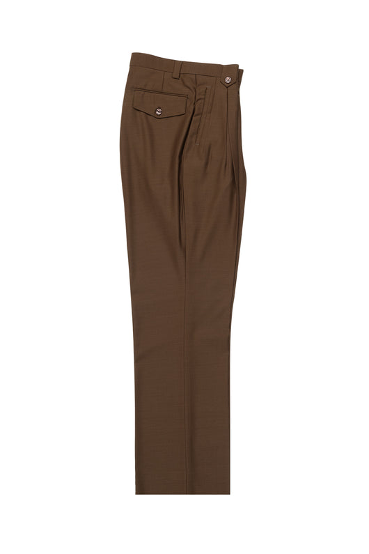 Tobacco Wide Leg, Pure Wool Dress Pants by Tiglio Luxe