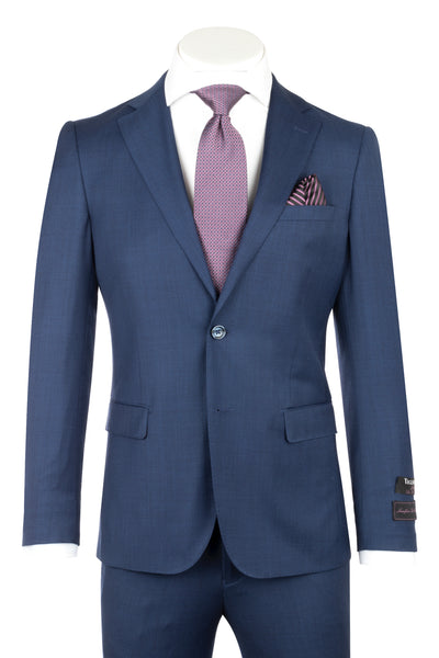 Porto Blue Sharkskin, Slim Fit, Pure Wool Suit by Tiglio Luxe TS4066/2  Tiglio - Italian Suit Outlet