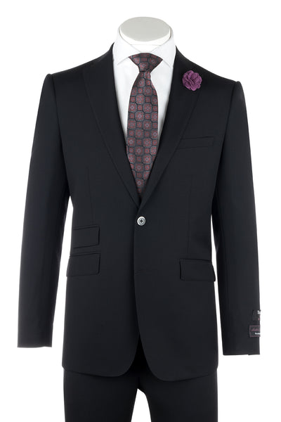 Molina Black Tone on Tone, Slim Fit, Pure Wool Suit by Tiglio Luxe TS6056/1  Tiglio - Italian Suit Outlet