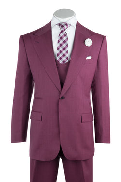 Luca Rosé Wide Leg, Pure Wool Suit & Vest by Tiglio Rosso TS6093/2  Tiglio - Italian Suit Outlet
