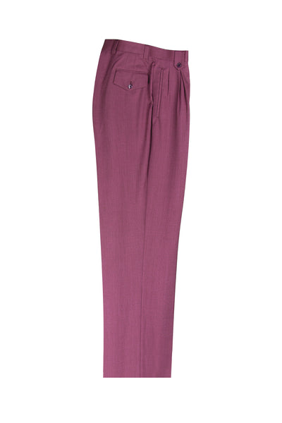 Raspberry Wide Leg, Pure Wool Dress Pants by Tiglio Luxe TS6093/2  Tiglio - Italian Suit Outlet