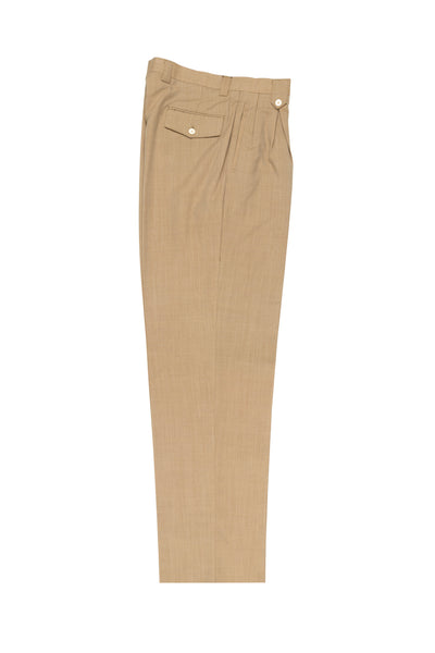 Light Camel Wide Leg, Pure Wool Dress Pants by Tiglio Luxe TS6103/2  Tiglio - Italian Suit Outlet