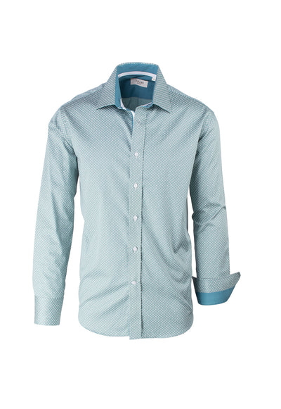 Green with White Pattern Modern Fit Sport Shirt by Tiglio Sport V12235  Tiglio - Italian Suit Outlet