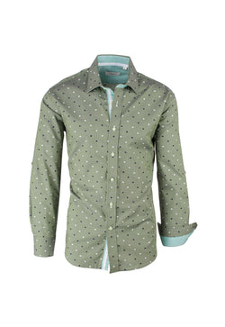 Green with Navy and White Polka-Dot Pattern Modern Fit Sport Shirt by Tiglio Sport V43100  Tiglio - Italian Suit Outlet