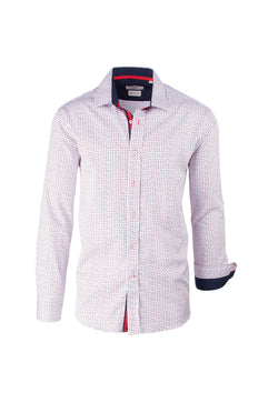 White with Red and Blue Pattern Modern Fit Sport Shirt by Tiglio Sport V4510