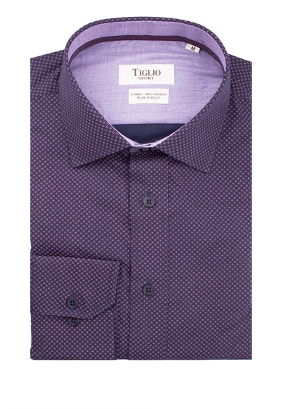 Navy with Red Design Modern Fit Sport Shirt by Tiglio Sport V-72091  Tiglio - Italian Suit Outlet