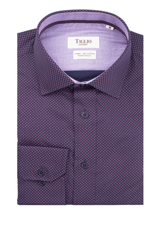 Navy with Pink and White Pattern Modern Fit Sport Shirt by Tiglio Sport V72091  Tiglio - Italian Suit Outlet