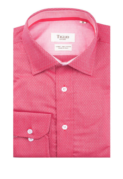 Red with Diamond Design Modern Fit Sport Shirt by Tiglio Sport V-76536  Tiglio - Italian Suit Outlet