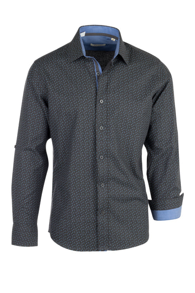 Dark Gray with Blue Paisley Pattern Modern Fit Sport Shirt by Tiglio Sport V-90800  Tiglio - Italian Suit Outlet