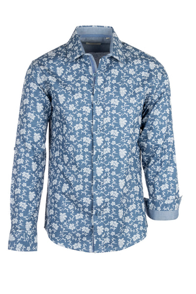 Blue jean with white flower Pattern Modern Fit Sport Shirt by Tiglio Sport V-90801  Tiglio - Italian Suit Outlet