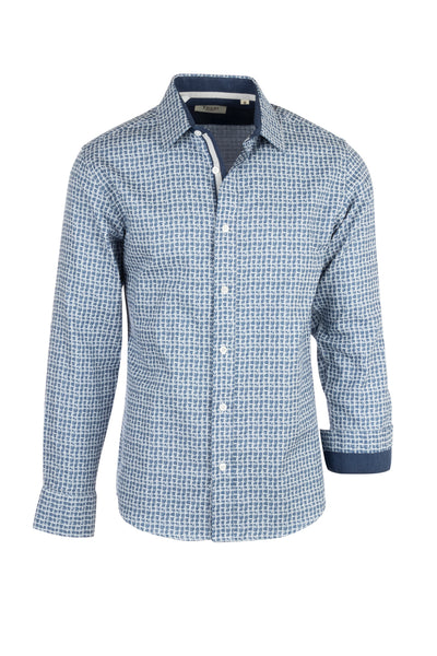 White with blue patern Modern Fit Sport Shirt by Tiglio Sport V-90804  Tiglio - Italian Suit Outlet