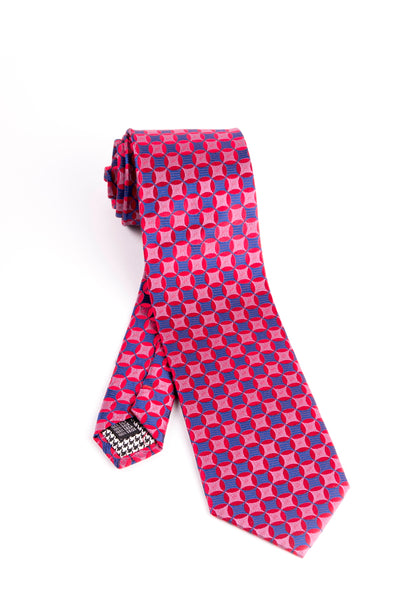 Pure Silk Blue with Red and Fuchsia Pattern Tie by Canaletto  Canaletto - Italian Suit Outlet