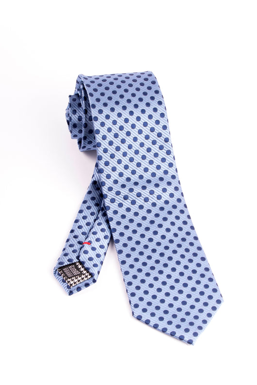 Pure Silk Light Blue with Navy Polka-Dots Tie by Canaletto