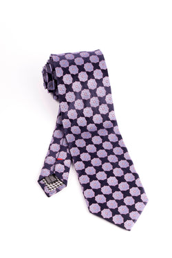 Pure Silk Navy with Pink and Light Blue Flower Pattern Tie by Canaletto