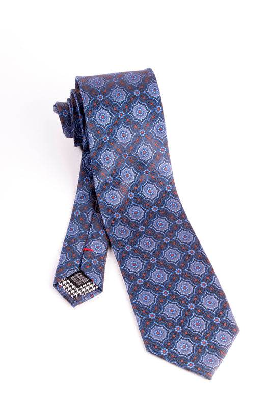 Pure Silk Blue with Light Blue and Brown Pattern Tie by Canaletto  Canaletto - Italian Suit Outlet