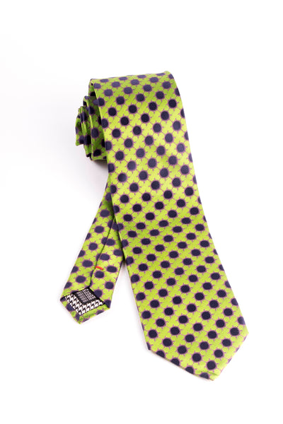 Pure Silk Bright Green with Black and Magenta Pattern Tie by Canaletto  Tiglio - Italian Suit Outlet