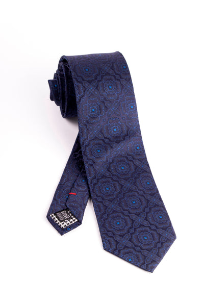 Pure Silk Navy with Blue Pattern Tie by Canaletto  Canaletto - Italian Suit Outlet