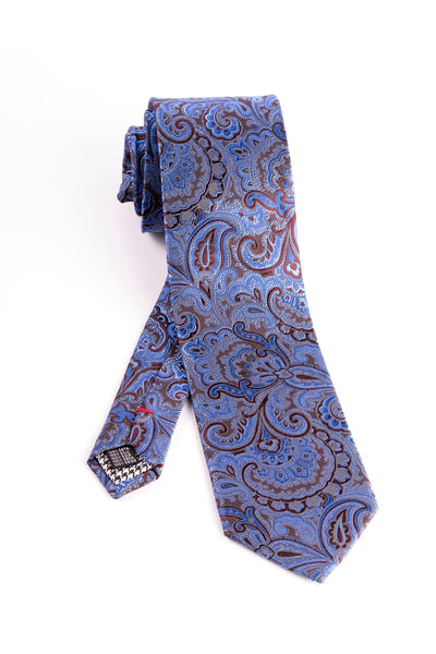 Pure Silk Light Blue and Brown Paisley Pattern Tie by Canaletto  Canaletto - Italian Suit Outlet