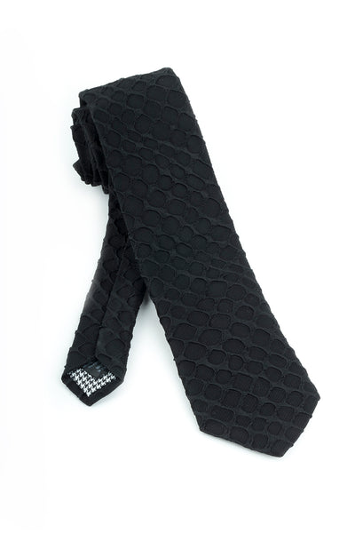 Pure Silk Black with Black Textured Pattern Tie by Canaletto  Canaletto - Italian Suit Outlet