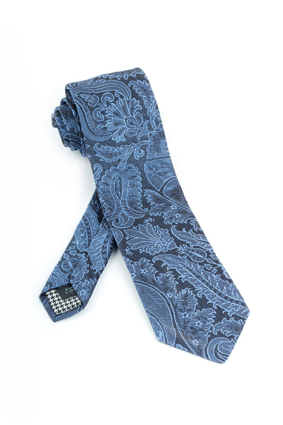 Pure Silk Gray with Bluish Textured Floral Pattern Tie by Canaletto  Canaletto - Italian Suit Outlet