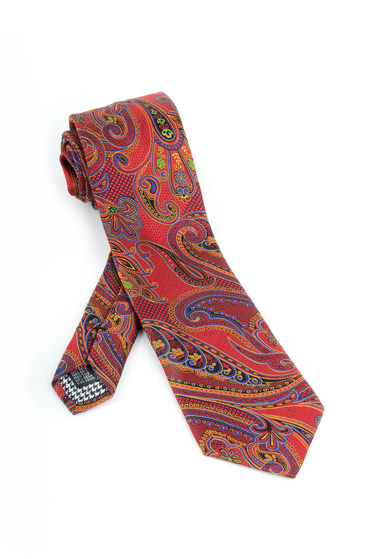 Pure Silk Red with Blue, Black and Yellow Paisley Pattern Tie by Canaletto  Canaletto - Italian Suit Outlet