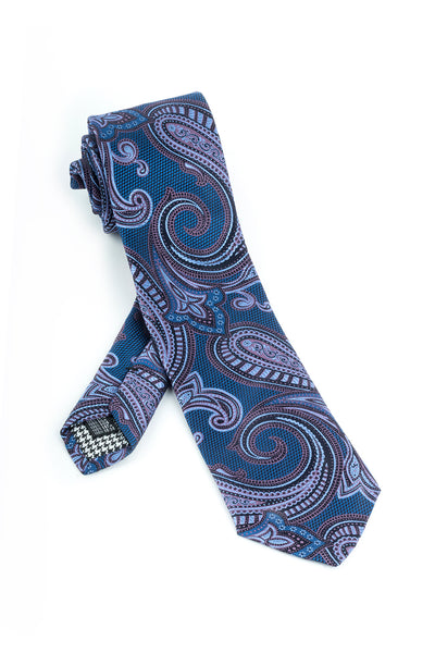 Pure Silk Blue and Black with Black, Lavender and Pink Paisley Pattern Tie by Canaletto  Canaletto - Italian Suit Outlet