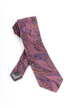 Pure Silk Pink with Indigo, Black and Yellow Paisley Pattern Tie by Canaletto  Canaletto - Italian Suit Outlet