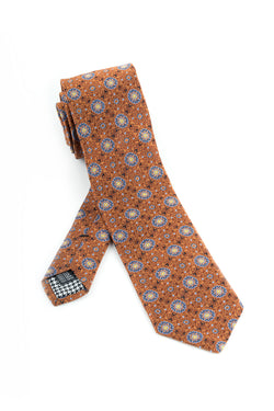 Pure Silk Rust with Light Blue and Black Repetative Patterns Tie by Canaletto  Canaletto - Italian Suit Outlet
