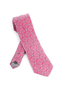 Pure Silk Pink with Light Pink and Red Repetitive Patterns Tie by Canaletto  Canaletto - Italian Suit Outlet