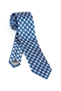 Pure Silk New Blue with Light Blue Houndstooth design Tie by Canaletto V1030  Canaletto - Italian Suit Outlet
