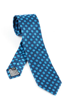 Pure Silk Navy with Sky Blue Houndstooth design Tie by Canaletto V1031  Canaletto - Italian Suit Outlet